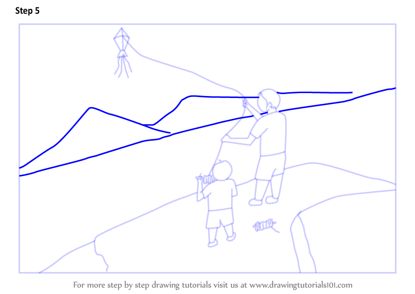 Learn How To Draw Kite Flying Festival Other Festivals Step By
