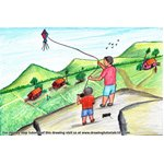How to Draw Kite Flying Festival