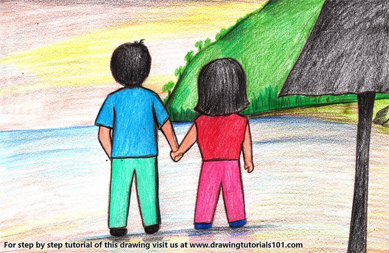 Couple Holding Hands on Beach Color Pencil Drawing