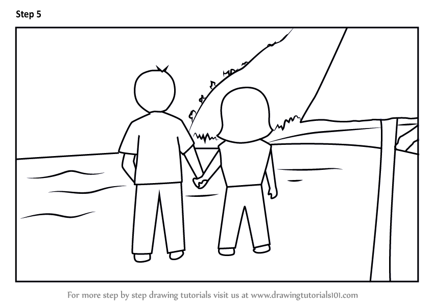 Learn How To Draw Couple Holding Hands On Beach Valentine S Day