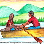 How to Draw Couple on Boat
