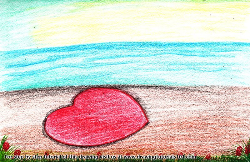 Heart On Beach Scene Colored Pencils Drawing Heart On Beach Scene