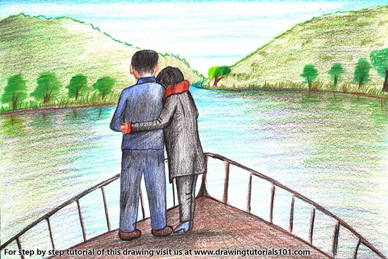 Romantic Couple on Boat Color Pencil Drawing