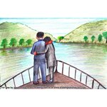 How to Draw Romantic Couple on Boat