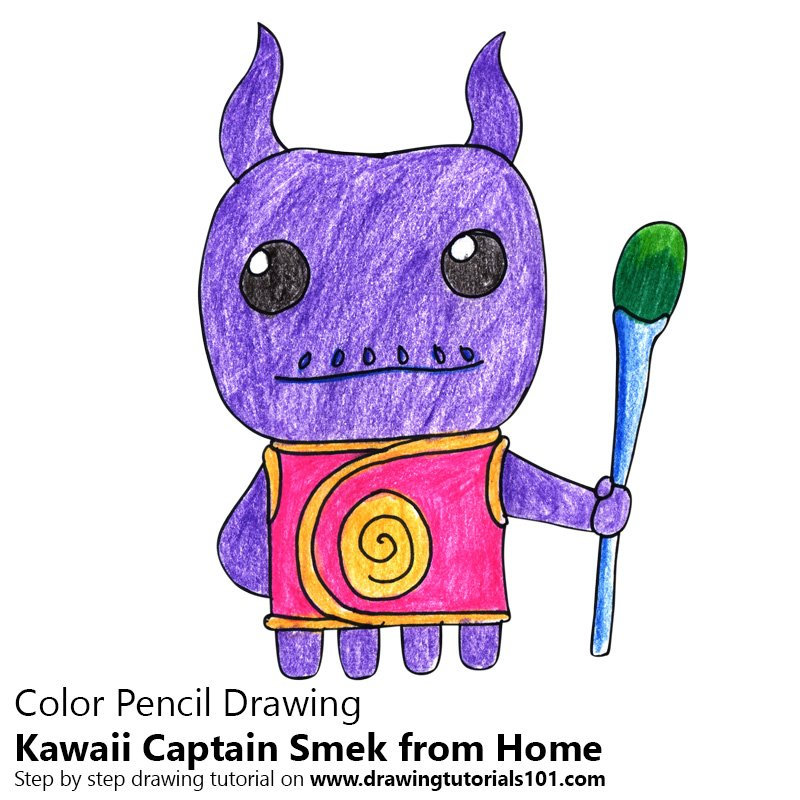 Kawaii Captain Smek from Home Color Pencil Drawing