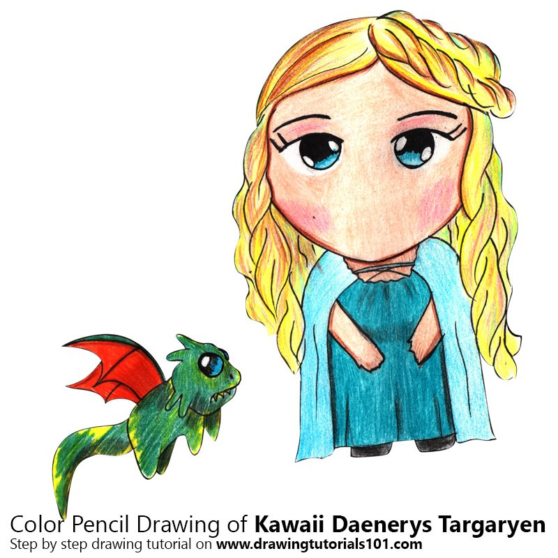 Kawaii Daenerys Targaryen Color Pencil Drawing