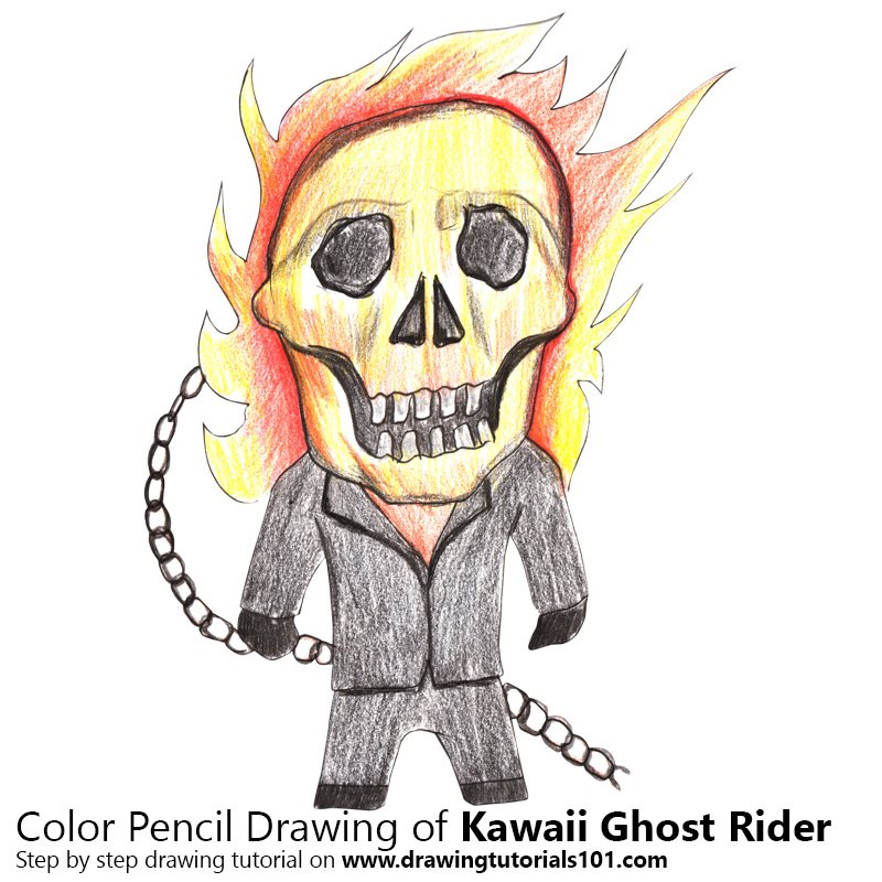 Kawaii Ghost Rider Color Pencil Drawing