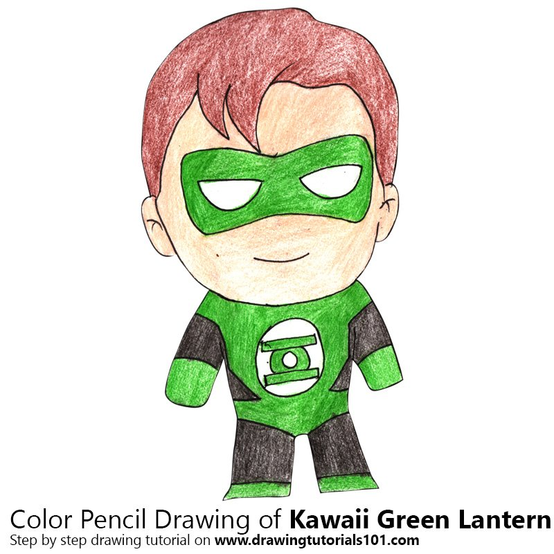 Kawaii Green Lantern Color Pencil Drawing