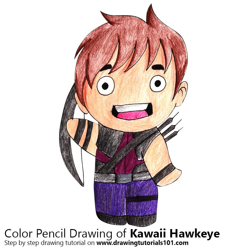 Kawaii Hawkeye Color Pencil Drawing