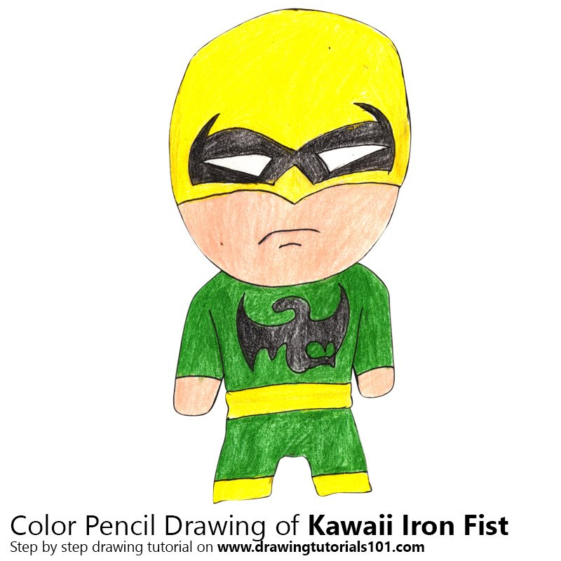 Kawaii Iron Fist Color Pencil Drawing