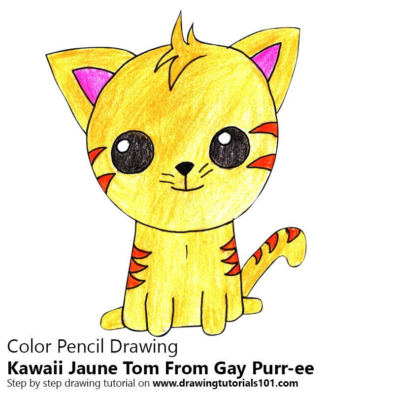 Kawaii Jaune Tom From Gay Purr-ee Color Pencil Drawing