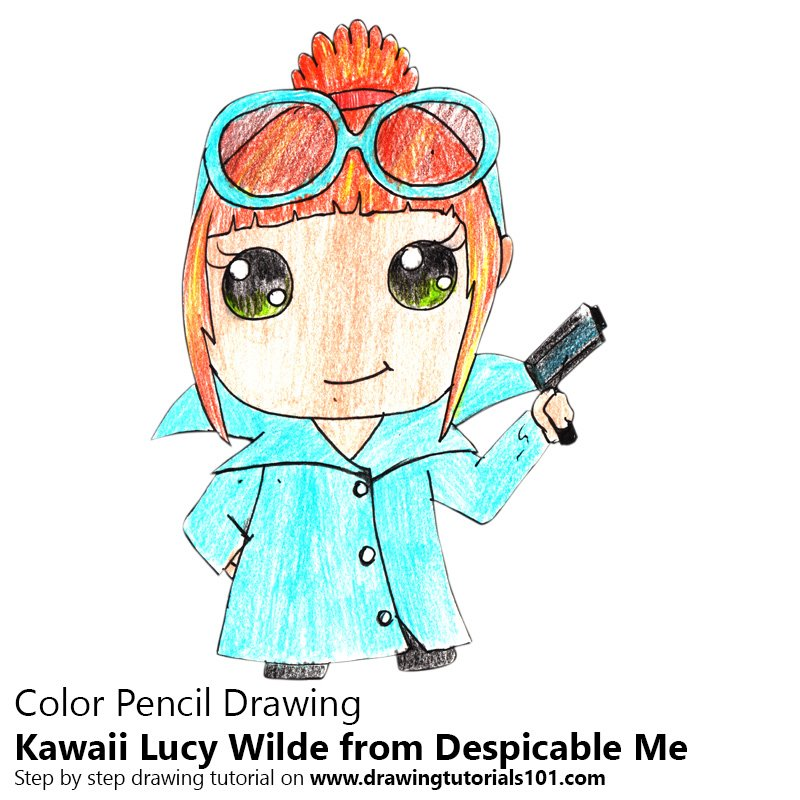 Kawaii Lucy Wilde from Despicable Me Color Pencil Drawing