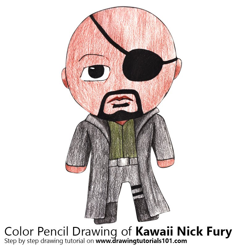 Kawaii Nick Fury Color Pencil Drawing