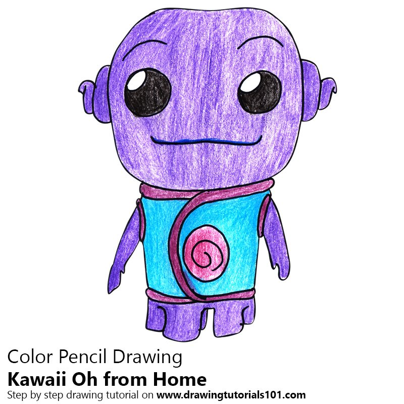 Kawaii Oh from Home Color Pencil Drawing