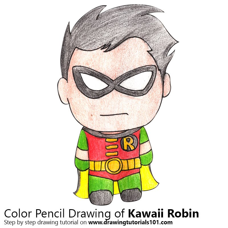 Kawaii Robin Color Pencil Drawing