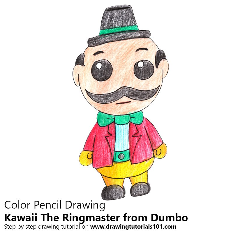 Kawaii The Ringmaster from Dumbo Color Pencil Drawing