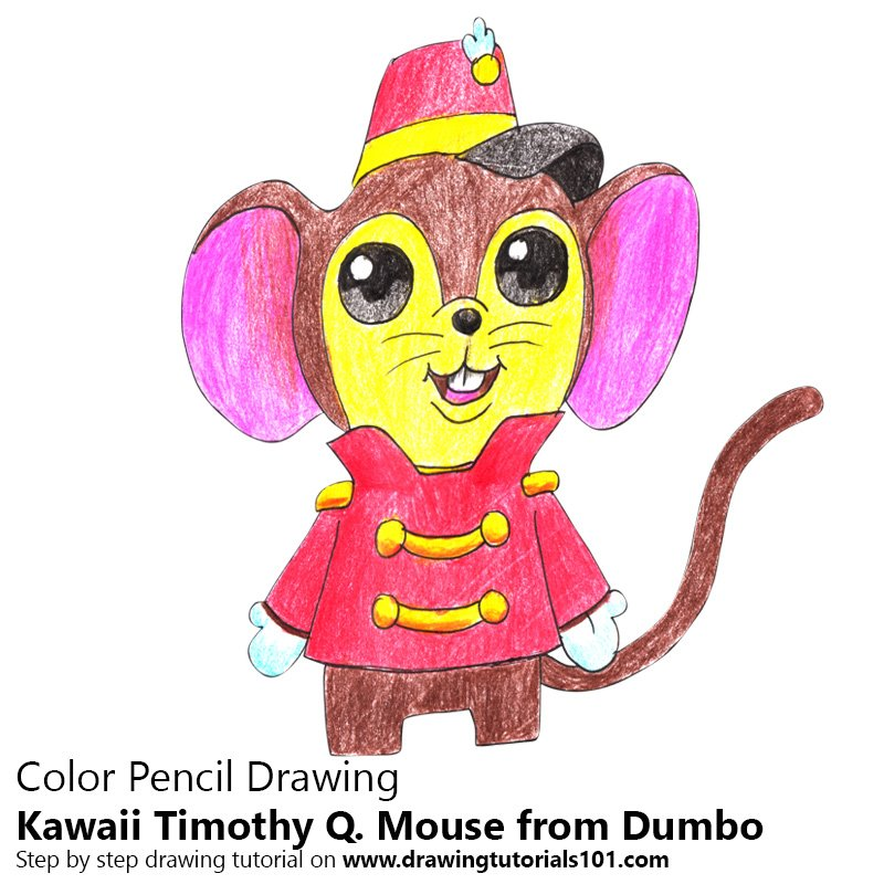 Kawaii Timothy Q. Mouse from Dumbo Color Pencil Drawing