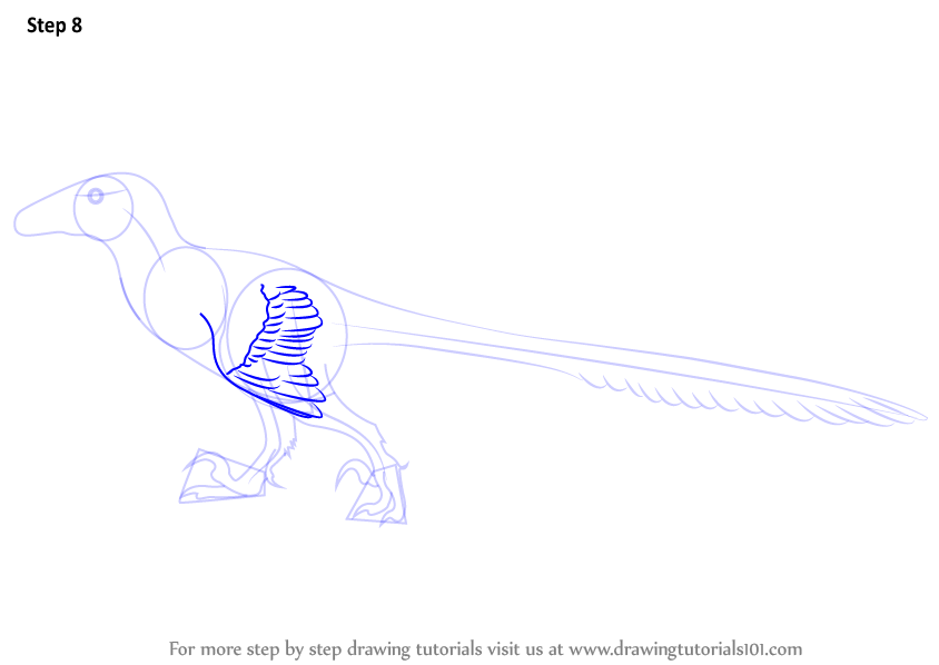 deinonychus coloring page - step by step how to draw a deinonychus