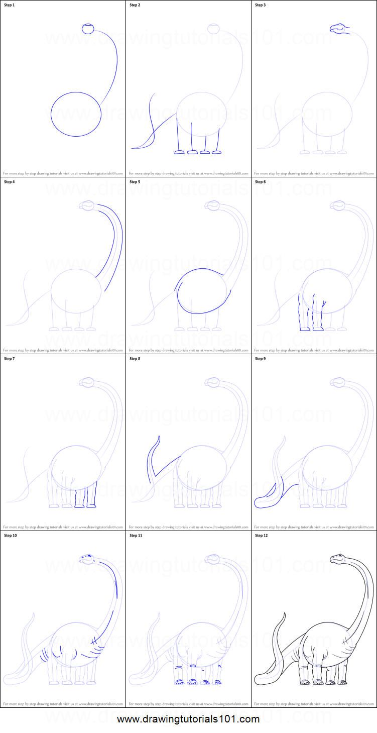 Step by step drawing tutorial on how to draw a dinosaur