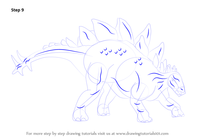 how to draw a stegosaurus step by step