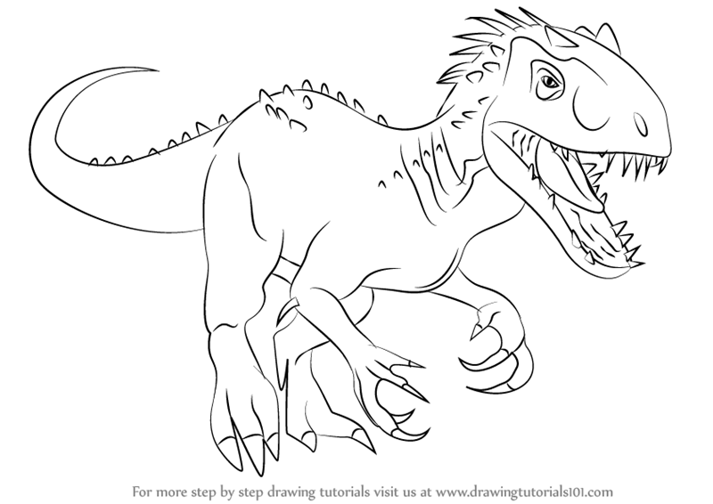 Learn how to draw the indomius rex dinosaurs step by step drawing tutorials