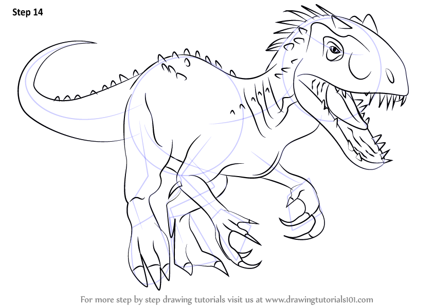 learn how to draw the indomius rex (dinosaurs) step