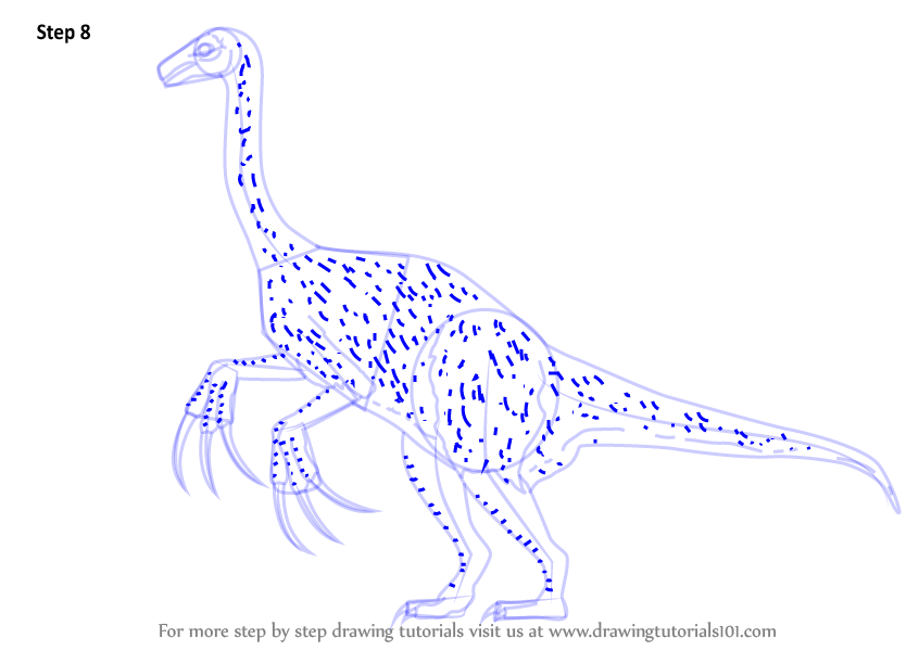 learn how to draw a therizinosaurus  dinosaurs  step by