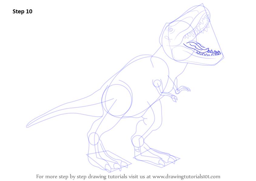 step by step how to draw a tyrannosaurus rex   drawingtutorials101 com