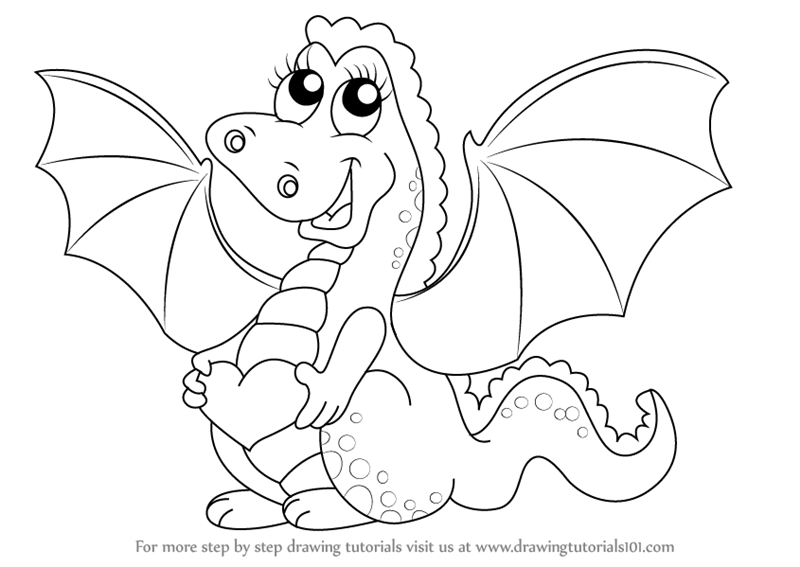 How to draw a baby dragon for kids