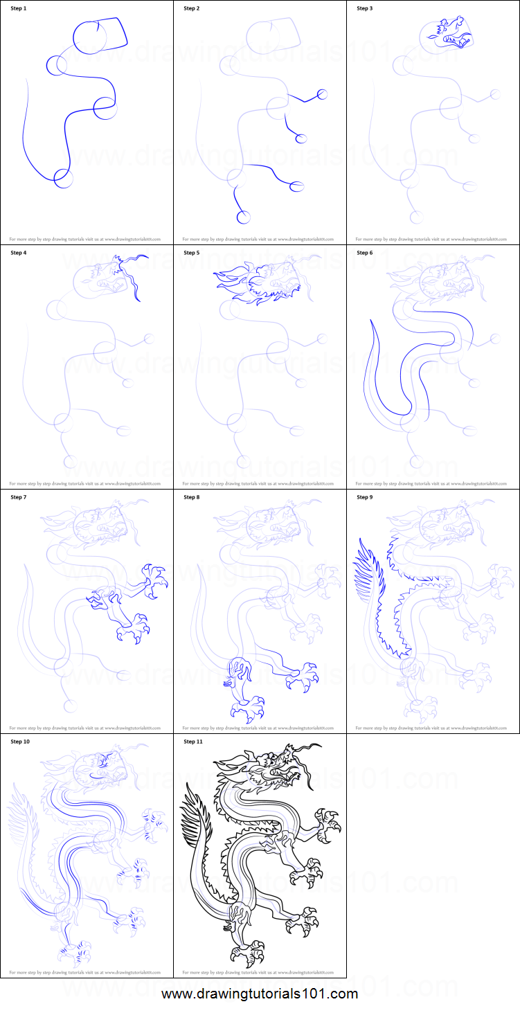How to Draw a Chinese Dragon printable step by step ...