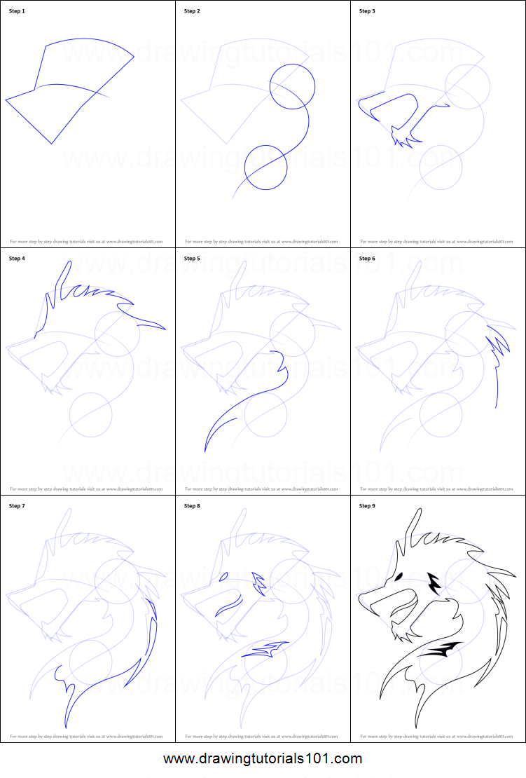how to draw a dragon symbol printable step by step drawing sheet