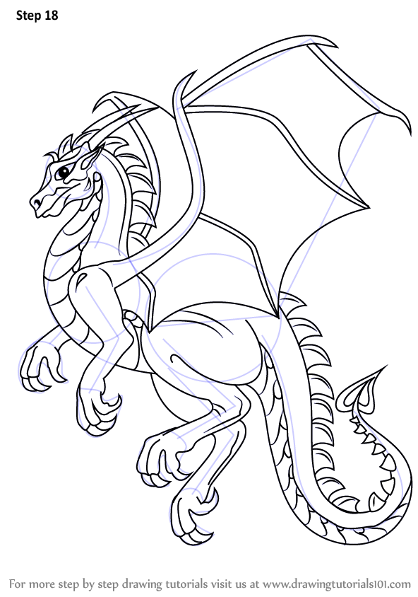 Line Art Drawing Tutorial : Learn how to draw a dragon dragons step by