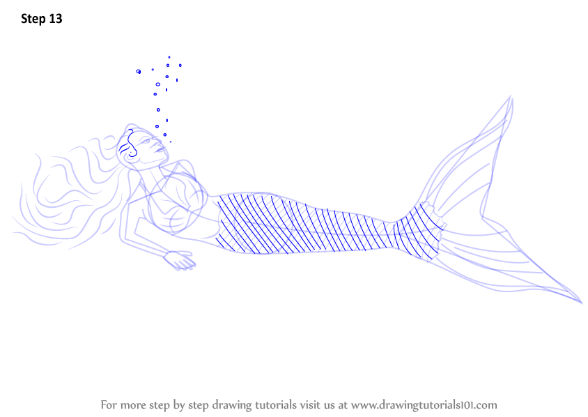 learn how to draw a mermaid in water  mermaids  step by