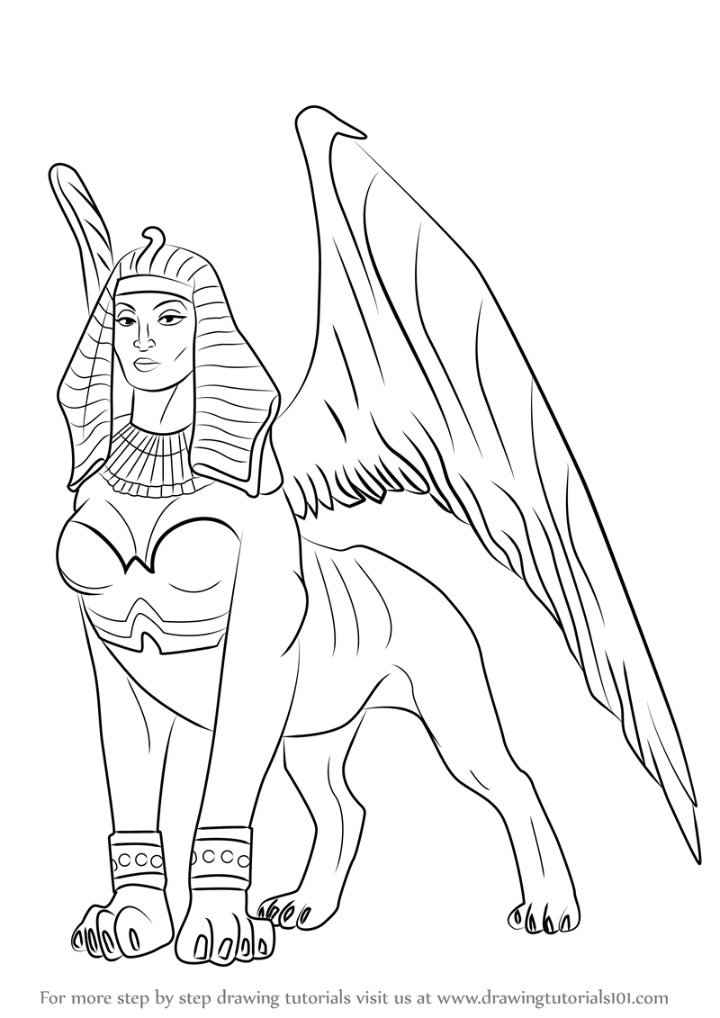 Step by Step How to Draw a Sphinx : DrawingTutorials101.com