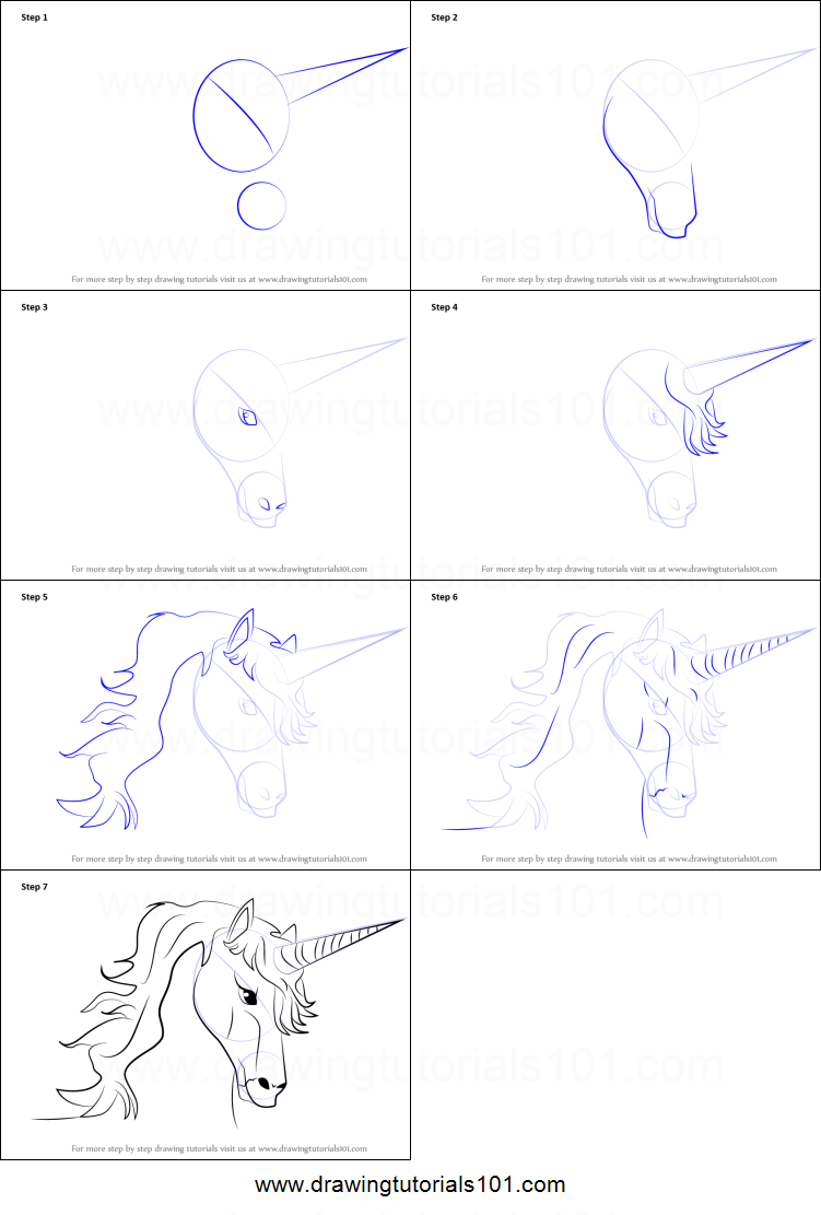 how to draw unicorn head printable step by step drawing. Black Bedroom Furniture Sets. Home Design Ideas