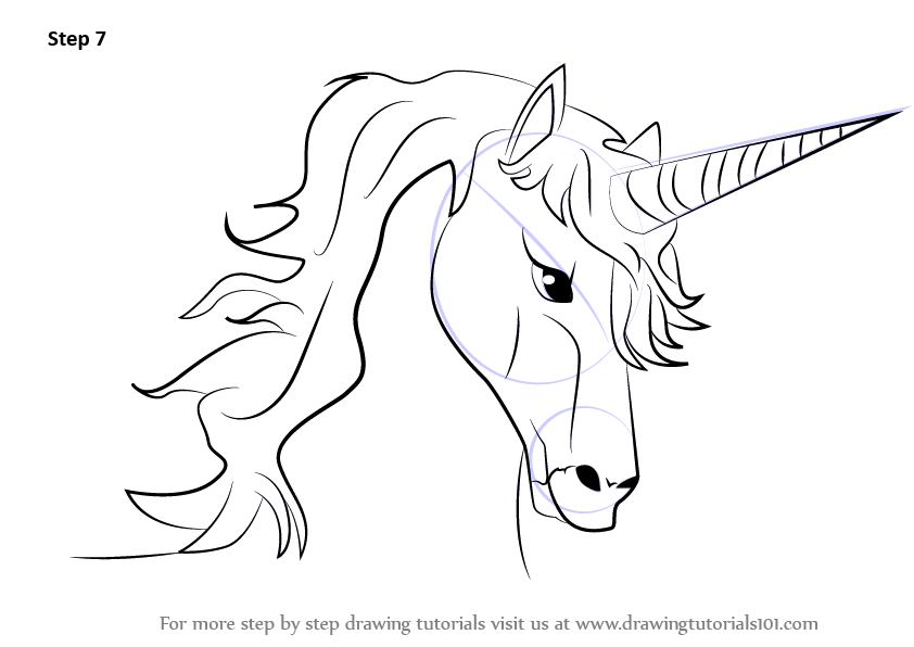 Learn How to Draw Unicorn Head (Unicorns) Step by Step ...