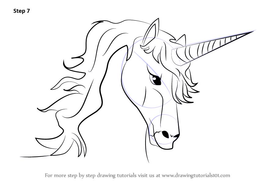 Learn How to Draw Unicorn Head (Unicorns) Step by Step ...