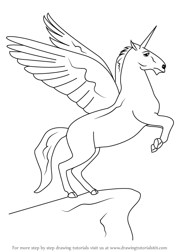 learn how to draw a unicorn with wings unicorns step by step Wings Outline step by step drawing tutorial on how to draw a unicorn with wings