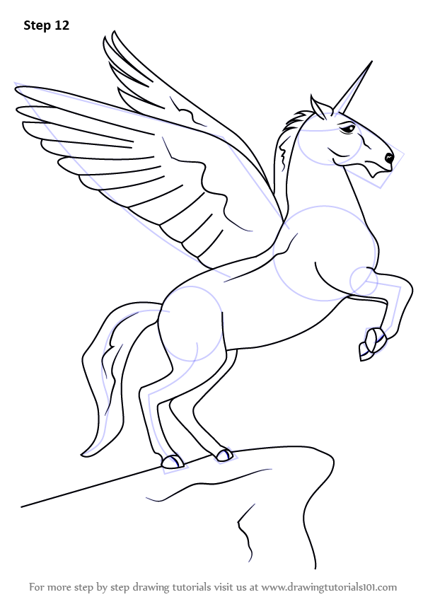 Learn How To Draw A Unicorn With Wings Unicorns Step By Step