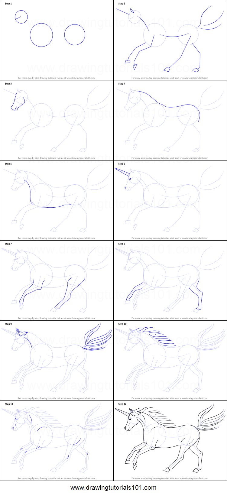 How To Draw A Unicorn Printable Step By Step Drawing Sheet