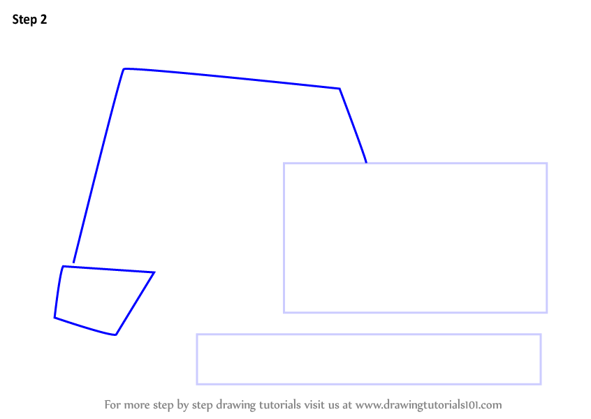 Learn How To Draw A Cartoon Excavator Construction Step