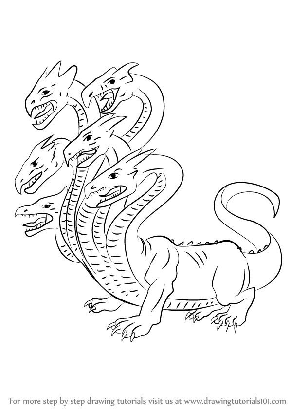 Learn How to Draw Hydra Greek mythology Step by Step  Drawing