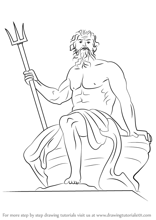 step by step how to draw poseidon drawingtutorials101com