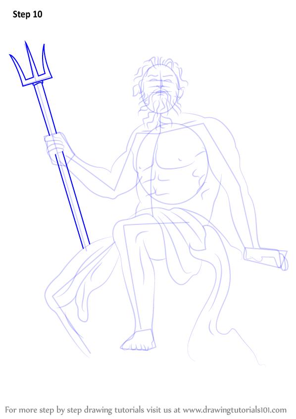 Step By Step How To Draw Poseidon Drawingtutorials101 Com