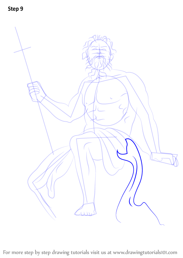 Step by Step How to Draw Poseidon