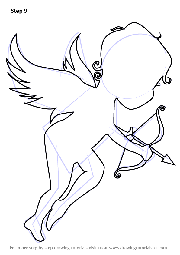 step by step how to draw an angel of love
