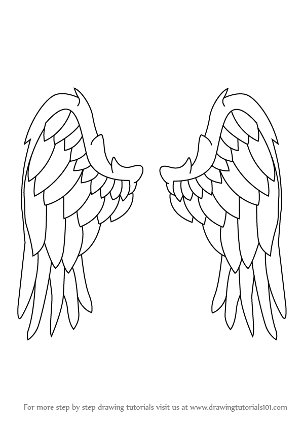 Learn how to draw angel wings angels step by step drawing tutorials