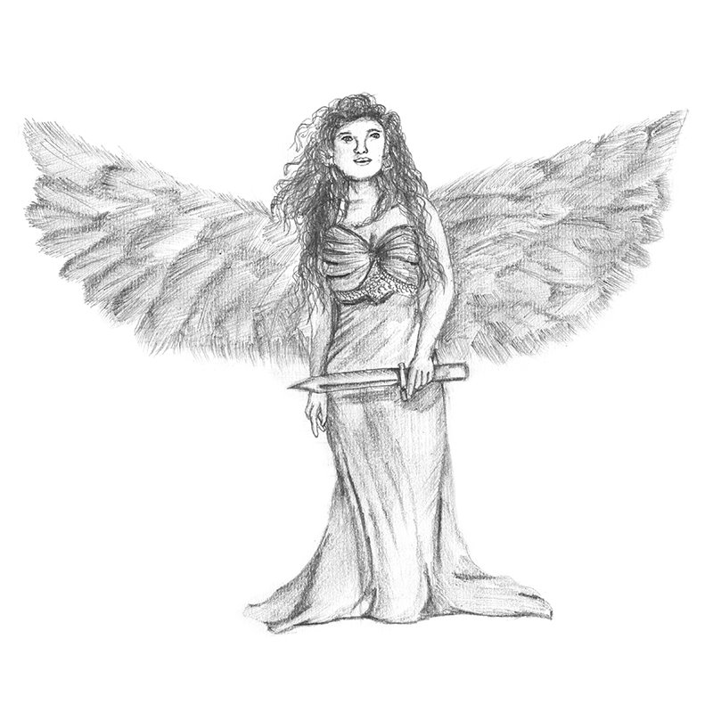 Angel with sword pencil drawing how to sketch angel with sword using pencils drawingtutorials101 com