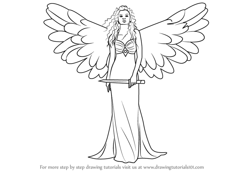 Learn how to draw an angel with sword angels step by step drawing tutorials