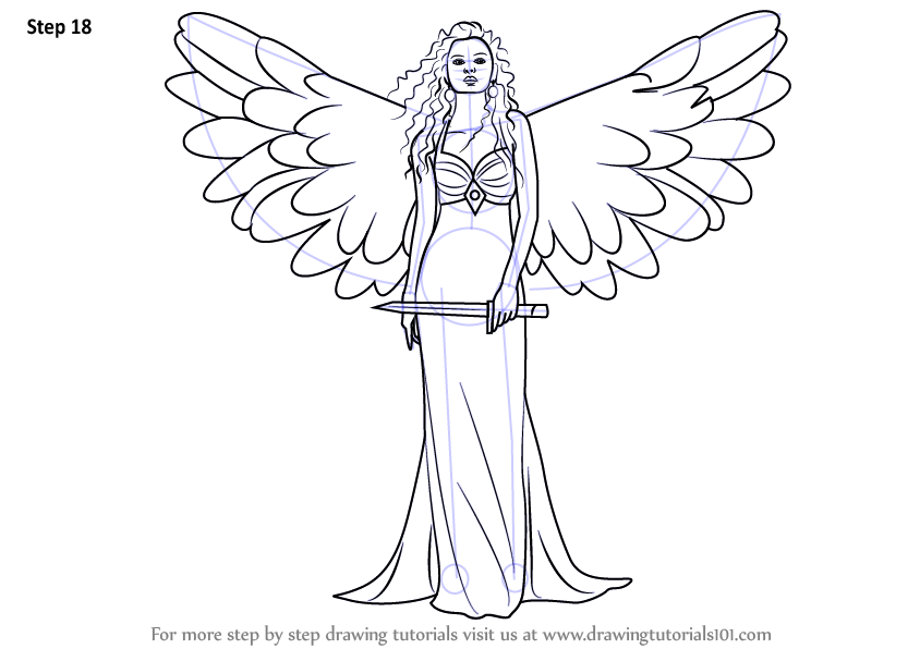 Learn How To Draw An Angel With Sword Angels Step By Step